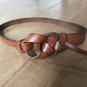 LOFT Leather Belt Brown Knot Buckle XS